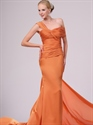 Show details for Orange One Shoulder Mermaid Chiffon Prom Dresses With Twist Front
