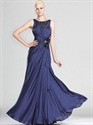 Show details for Navy Blue Sheath Floor Length Prom Dress With Lace And Floral Detail