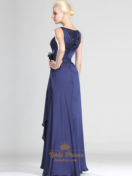 Navy Blue Sheath Floor Length Prom Dress With Lace And Floral Detail