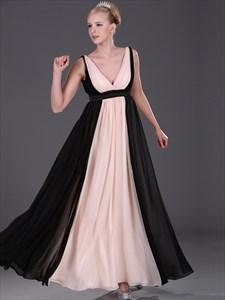 Pink And Black A-Line V Neck Chiffon Floor Length Bridesmaid Dresses