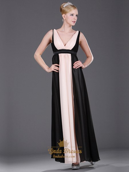 Pink And Black A-Line V Neck Chiffon Floor Length Bridesmaid Dresses