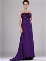 Show details for Purple Strapless Chiffon Empire A-Line Prom Dresses With Flower Detail