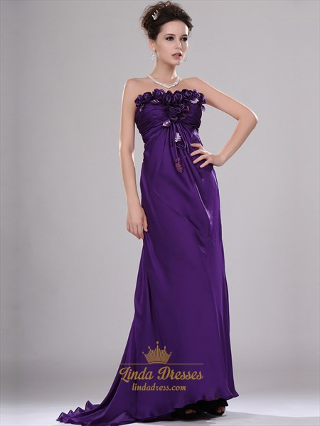 Purple Strapless Chiffon Empire A-Line Prom Dresses With Flower Detail