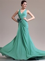 Show details for Green Chiffon Bow Trim Ruched Bodice Prom Dresses With Criss Cross Back