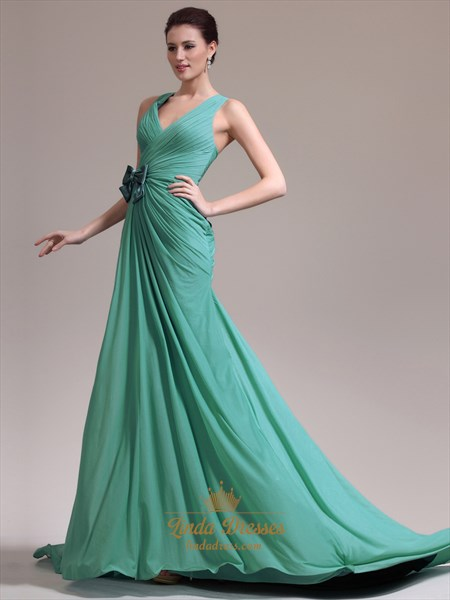 Green Chiffon Bow Trim Ruched Bodice Prom Dresses With Criss Cross Back