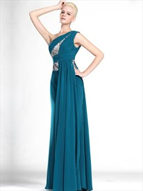 Teal One Shoulder Chiffon Floor Length Prom Dress With Sequin Trim