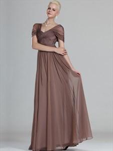 Coffee Cap Sleeves Chiffon Prom Dresses With Criss-Cross Bodice