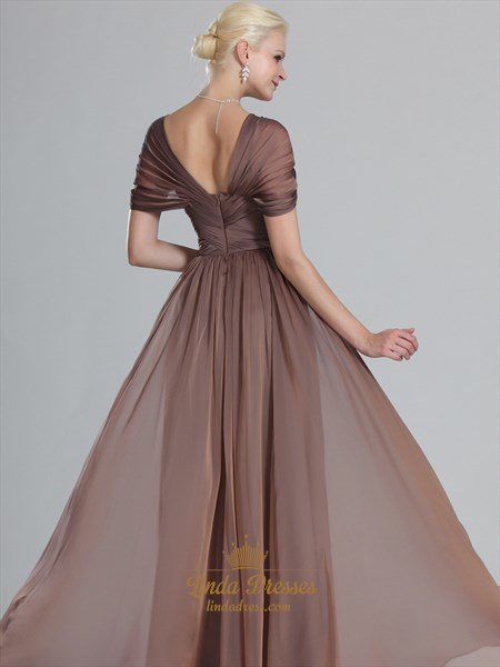 Coffee Cap Sleeves Chiffon Prom Dresses With Criss-Cross Bodice