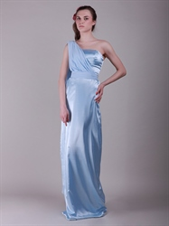 Blue One Shoulder Floor-Length Bridesmaid Dresses With Watteau Train