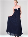 Show details for Navy Blue Chiffon Strapless Bridesmaid Dresses With Chunky Beaded Detail