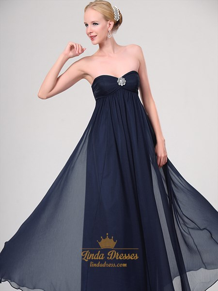 Navy Blue Chiffon Strapless Bridesmaid Dresses With Chunky Beaded Detail
