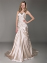Show details for Champagne Strapless Sheath Sweeep Train Prom Dress With Applique Detail