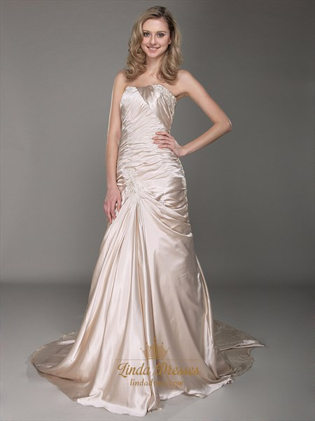 Champagne Strapless Sheath Sweeep Train Prom Dress With Applique Detail