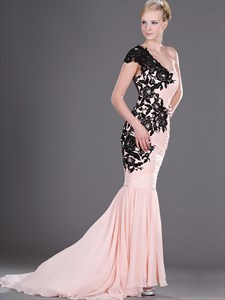Pink Chiffon One Shoulder Pleated Mermaid Prom Dress With Black Lace