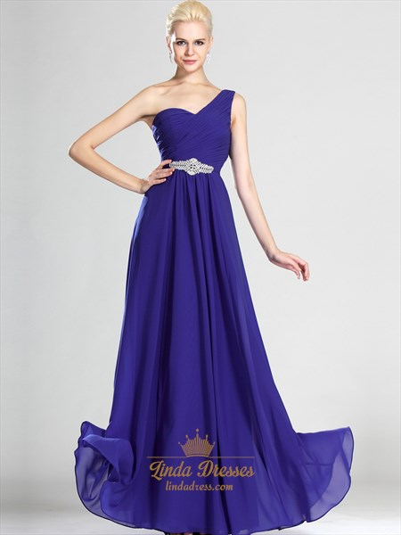 Royal Blue Chiffon One Shoulder Bridesmaid Dress With Beaded Detail
