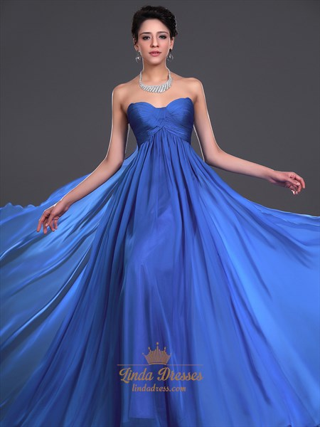 Show details for Royal Blue Flowy Chiffon Sweetheart Bridesmaid Dress With Empire Waist