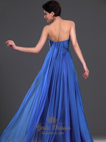 Royal Blue Flowy Chiffon Sweetheart Bridesmaid Dress With