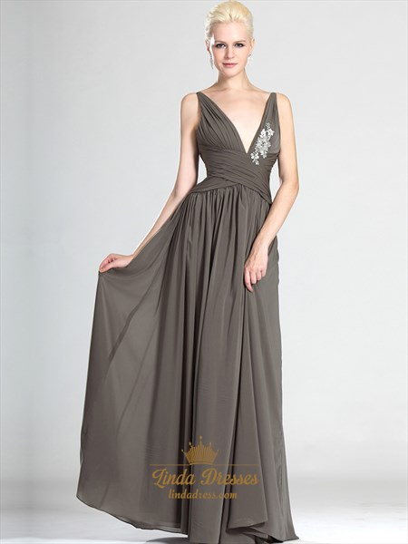 Gray Deep V-Neck Chiffon A-Line Prom Dress With Lace Applique Detail