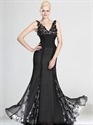 Show details for Black V Neck Mermaid Chiffon Lace Prom Dress With Embellished Bodice