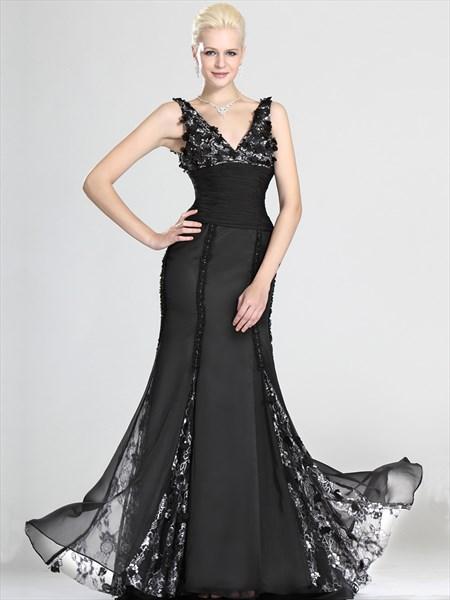 Black V Neck Mermaid Chiffon Lace Prom Dress With Embellished Bodice