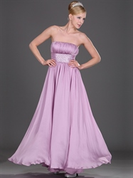 Lilac Strapless Chiffon Bridesmaid Dresses With Ruched Bust And Beading