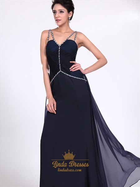 Navy Blue V Neck Spaghetti Strap Chiffon Prom Dress With Beaded Straps