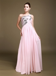 Elegant Pink Chiffon One Shoulder Bridesmaid Dress With Sequin Trim