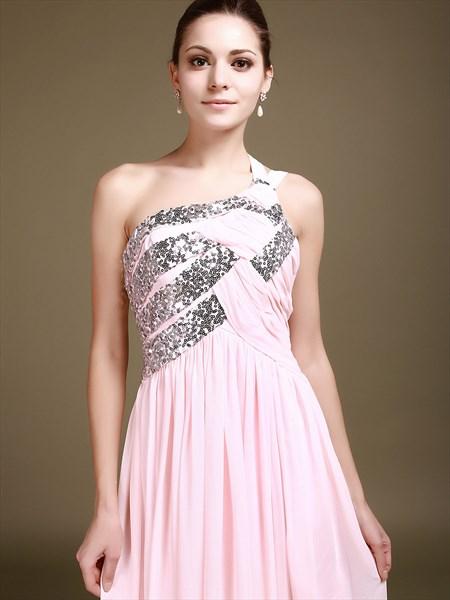 Elegant Pink Chiffon One Shoulder Bridesmaid Dress With Sequin Trim