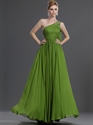 Show details for Apple Green One Shoulder Chiffon Bridesmaid Dress With Beaded Detail