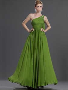 Apple Green One Shoulder Chiffon Bridesmaid Dress With Beaded Detail