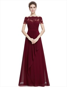 Burgundy Sweetheart Chiffon Lace Overlay Top Formal Dress Dress With Short Sleeves
