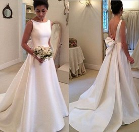 Elegant Simple Sleeveless Open Back Satin Wedding Dress With Train
