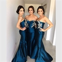 Navy Blue sweetheart mermaid Bridesmaid Dress With Floral Applique