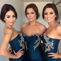 Show details for Navy Blue sweetheart mermaid Bridesmaid Dress With Floral Applique