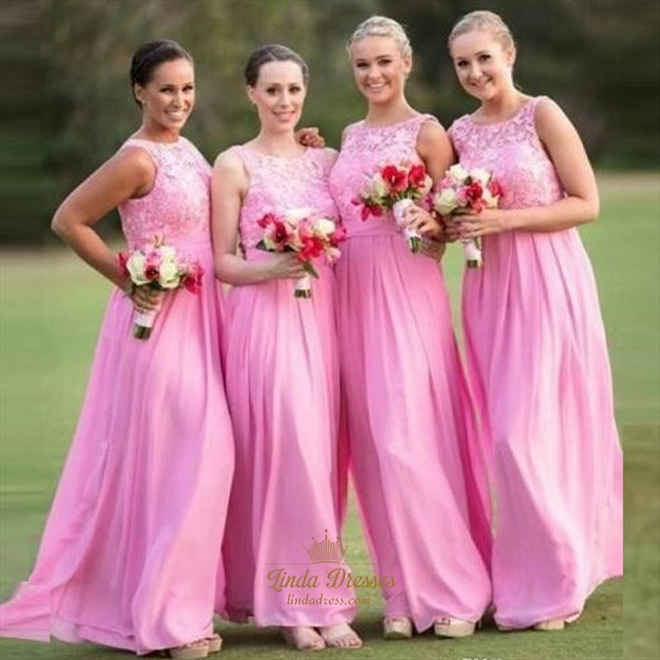 Show details for Pink Chiffon Sleeveless Long Bridesmaid Dress With Lace Bodice