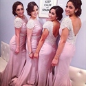 Pink Mermaid V-Back Bridesmaid Dress With Beaded Cap Sleeves And Sash