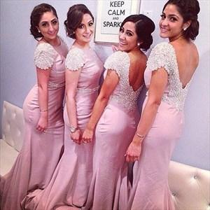 Pink Mermaid V-Back Bridesmaid Dress With Beaded Cap Sleeves And Sash