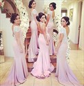Show details for Pink Mermaid V-Back Bridesmaid Dress With Beaded Cap Sleeves And Sash