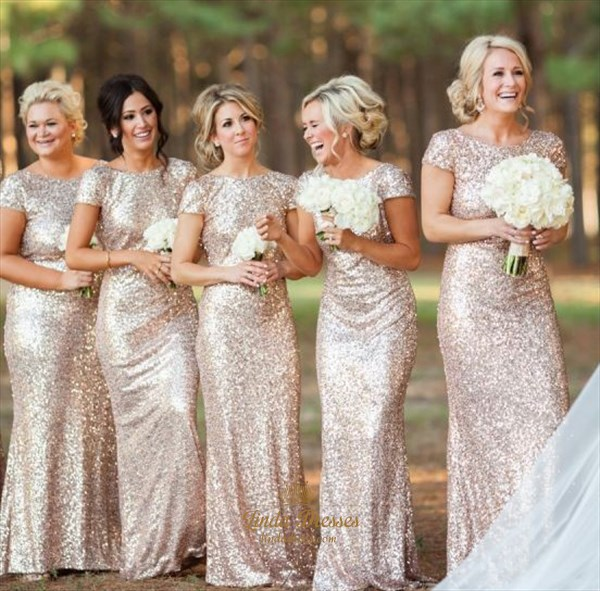 Champagne Sequin Long Bridesmaid Dress Open Back With Cap Sleeves