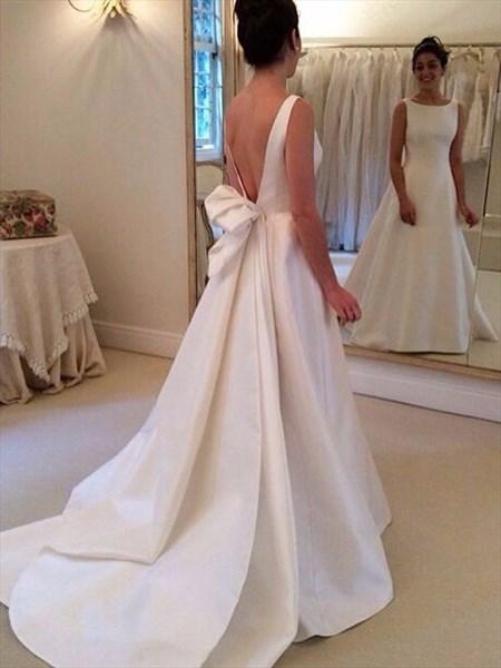 Elegant Simple Sleeveless Open Back Satin Wedding Dress With Train