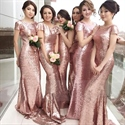 Show details for Pink Sequin Short Sleeves Bridesmaid Dresses Long With Open Back