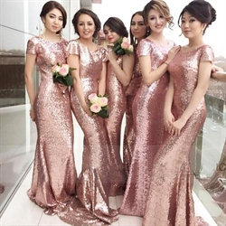 Pink Sequin Short Sleeves Bridesmaid Dresses Long With Open Back
