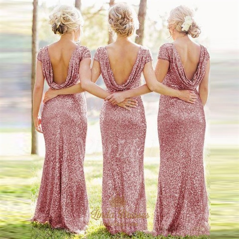 pink sequin short sleeves bridesmaid dresses long with