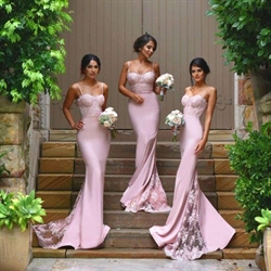 Pink Spaghetti Strap Sheath Bridesmaid Dress With Lace Train