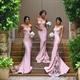 Pink Spaghetti Strap Sheath Bridesmaid Dress With Lace Train