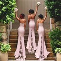 Show details for Pink Spaghetti Strap Sheath Bridesmaid Dress With Lace Train