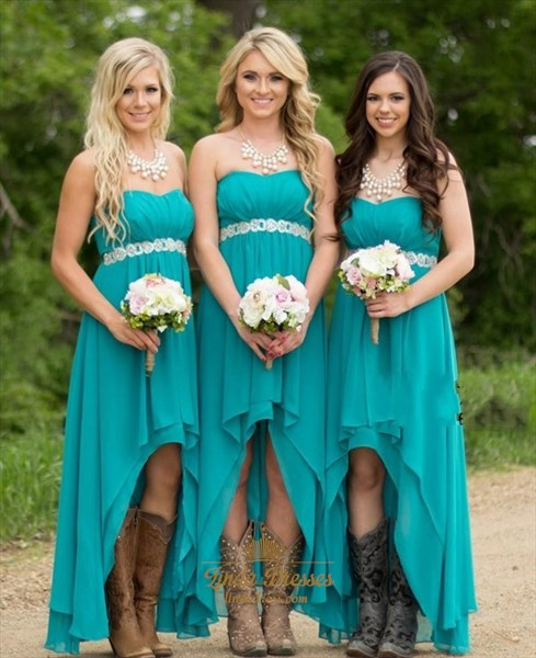 Teal Chiffon High Low Strapless Bridesmaid Dress With Beaded Waist