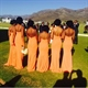 Orange Sheath Contrast V Neck Bridesmaid Dress Long With Beaded Straps