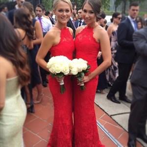 Red Halter Sleeveless Lace Sheath Bridesmaid Dress With Train