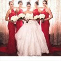 Show details for Red Halter Sleeveless Lace Sheath Bridesmaid Dress With Train